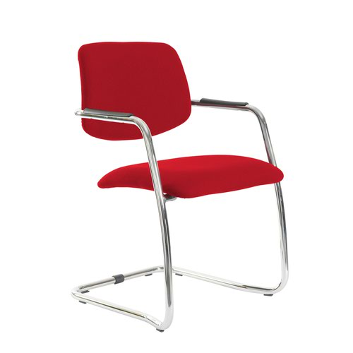 Tuba chrome cantilever frame conference chair with half upholstered back - Balize Red