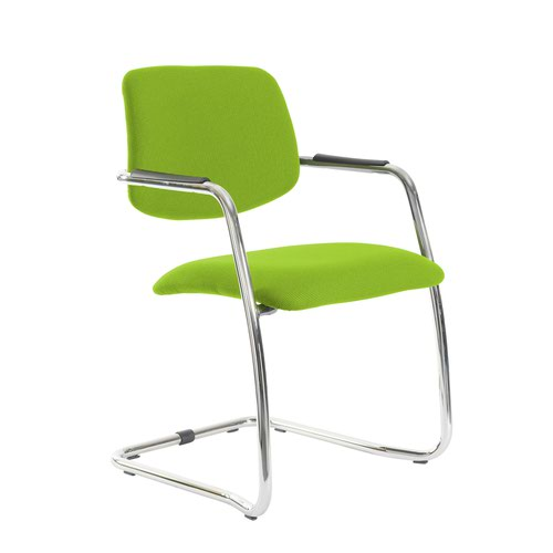 Tuba chrome cantilever frame conference chair with half upholstered back - Madura Green
