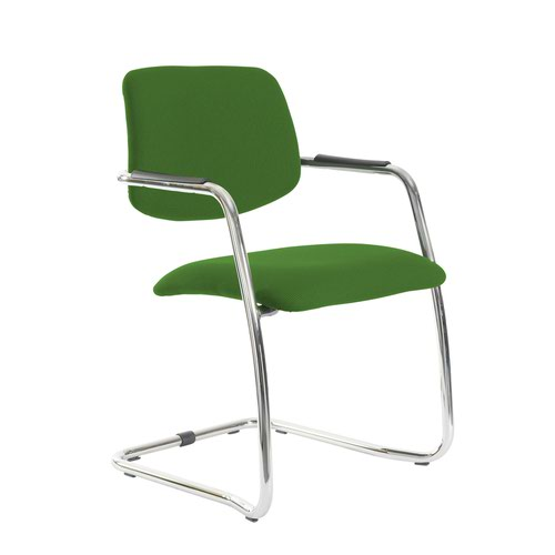 Tuba chrome cantilever frame conference chair with half upholstered back - Lombok Green