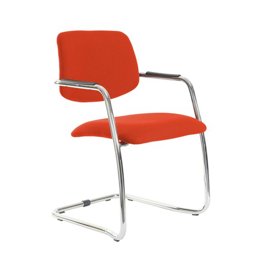 Tuba chrome cantilever frame conference chair with half upholstered back - Tortuga Orange