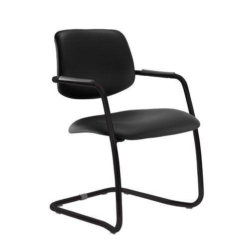 Tuba black cantilever frame conference chair with half upholstered back - Nero Black vinyl