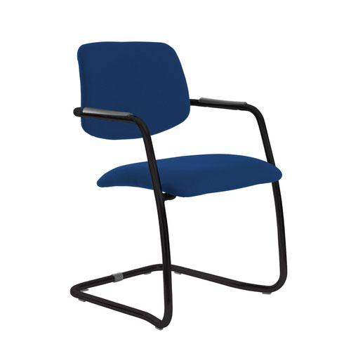 Tuba black cantilever frame conference chair with half upholstered back - Curacao Blue