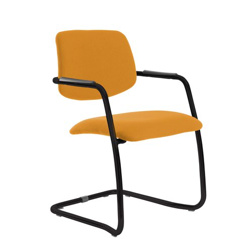 Tuba black cantilever frame conference chair with half upholstered back - Solano Yellow