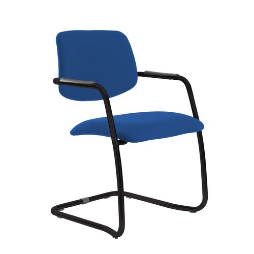 Tuba black cantilever frame conference chair with half upholstered back - Scuba Blue