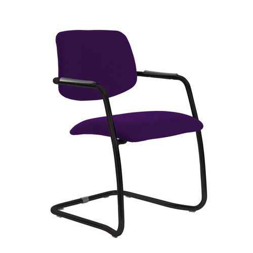 Tuba black cantilever frame conference chair with half upholstered back - Tarot Purple