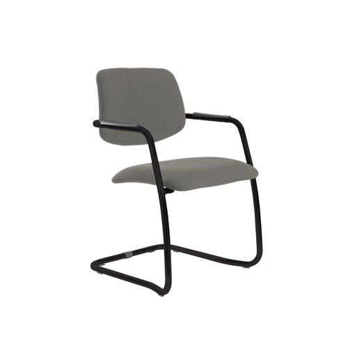 Tuba black cantilever frame conference chair with half upholstered back - Slip Grey