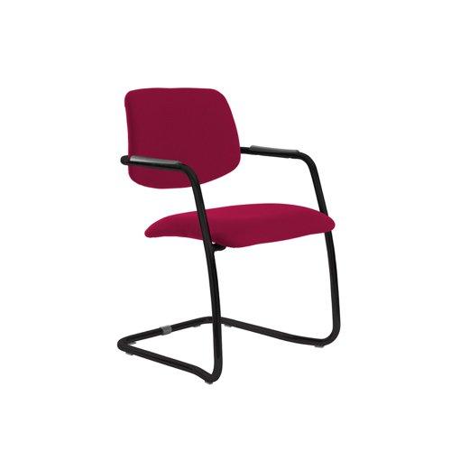 Tuba black cantilever frame conference chair with half upholstered back - Diablo Pink
