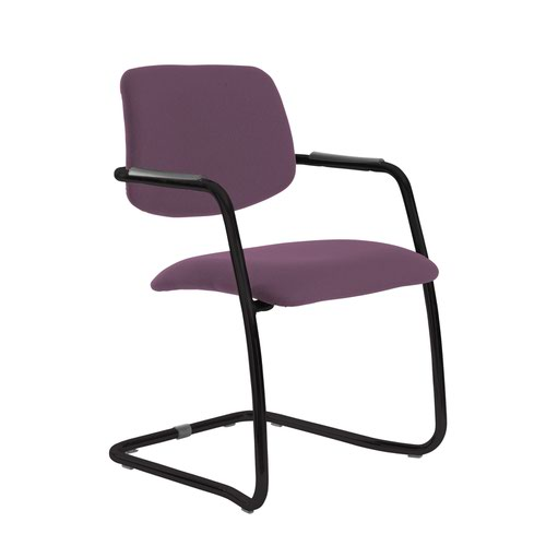 Tuba black cantilever frame conference chair with half upholstered back - Bridgetown Purple