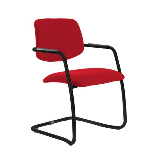 Tuba black cantilever frame conference chair with half upholstered back - Balize Red