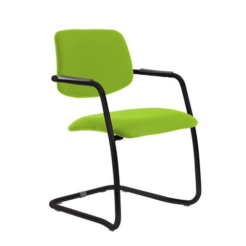 Tuba black cantilever frame conference chair with half upholstered back - Madura Green