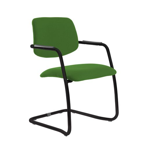 Tuba black cantilever frame conference chair with half upholstered back - Lombok Green