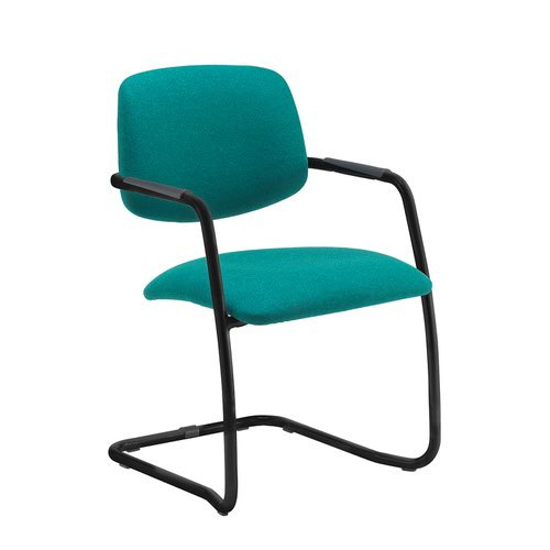 Tuba black cantilever frame conference chair with half upholstered back - made to order