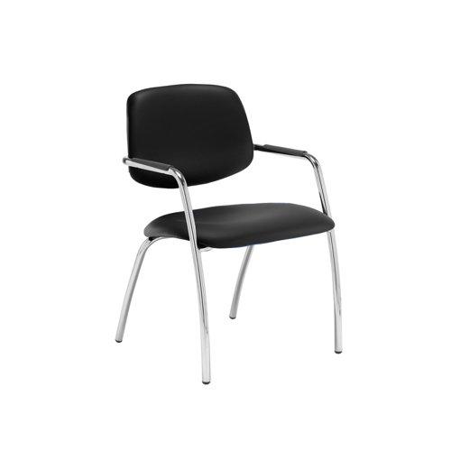 Tuba chrome 4 leg frame conference chair with half upholstered back - Nero Black vinyl