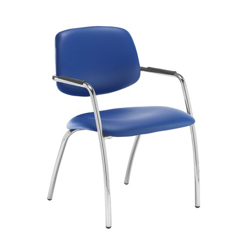 Tuba chrome 4 leg frame conference chair with half upholstered back - Ocean Blue vinyl