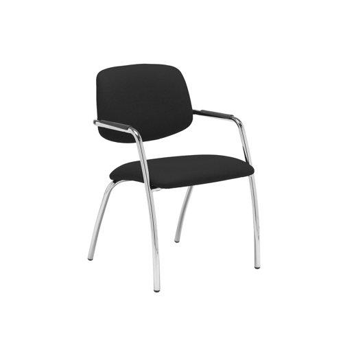 Tuba chrome 4 leg frame conference chair with half upholstered back - Havana Black