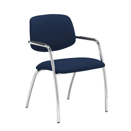 Tuba chrome 4 leg frame conference chair with half upholstered back - Costa Blue