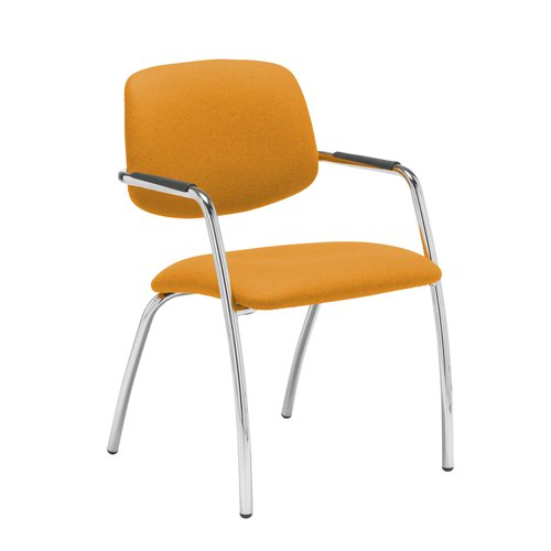 Tuba chrome 4 leg frame conference chair with half upholstered back - Solano Yellow