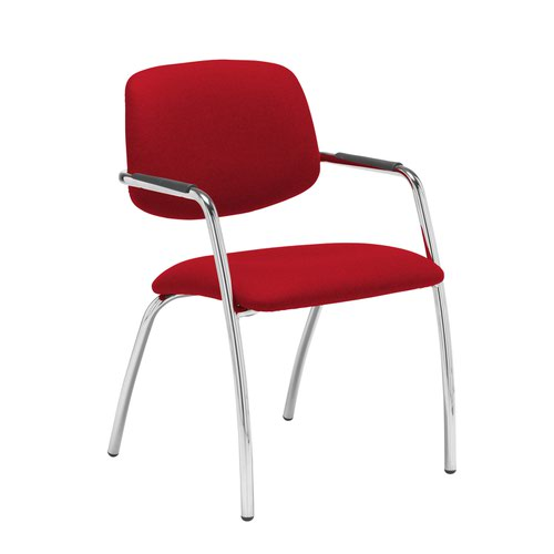 Tuba chrome 4 leg frame conference chair with half upholstered back - Panama Red