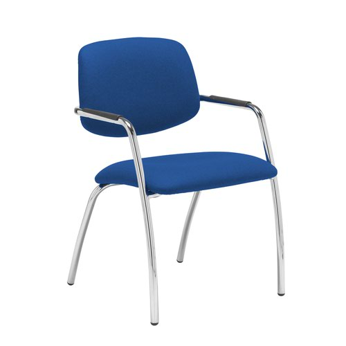 Tuba chrome 4 leg frame conference chair with half upholstered back - Scuba Blue