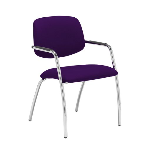 Tuba chrome 4 leg frame conference chair with half upholstered back - Tarot Purple