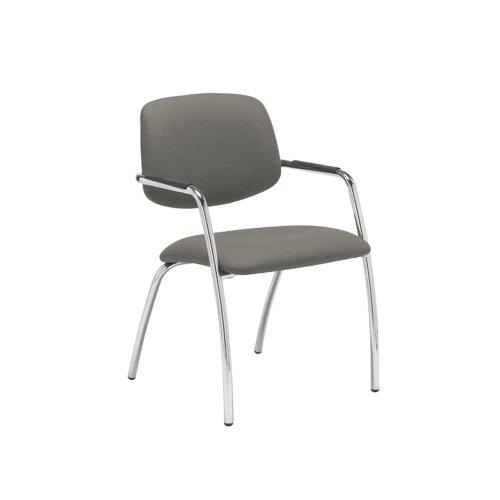 Tuba chrome 4 leg frame conference chair with half upholstered back - Slip Grey