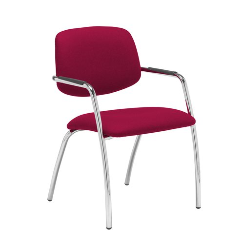 Tuba chrome 4 leg frame conference chair with half upholstered back - Diablo Pink