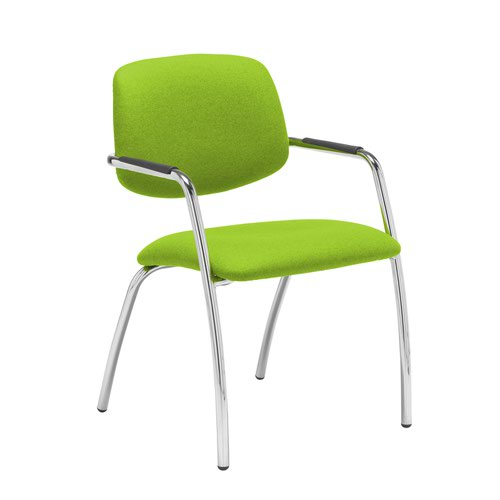 Tuba chrome 4 leg frame conference chair with half upholstered back - Madura Green