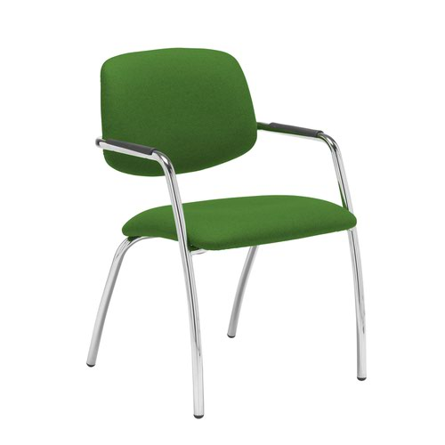 Tuba chrome 4 leg frame conference chair with half upholstered back - Lombok Green