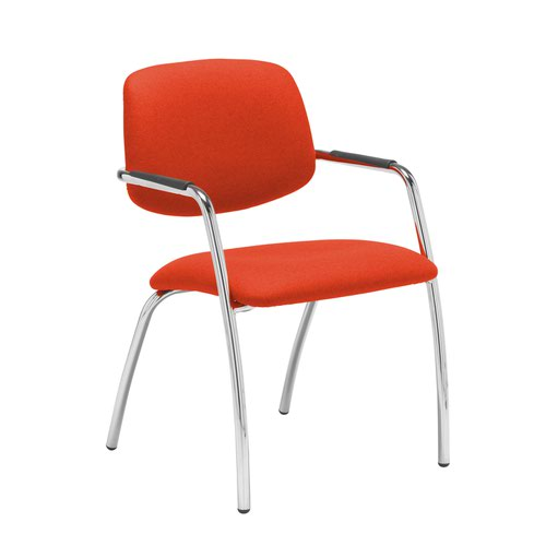 Tuba chrome 4 leg frame conference chair with half upholstered back - Tortuga Orange