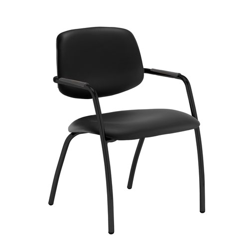 Tuba black 4 leg frame conference chair with half upholstered back - Nero Black vinyl