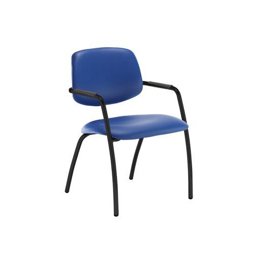 Tuba black 4 leg frame conference chair with half upholstered back - Ocean Blue vinyl
