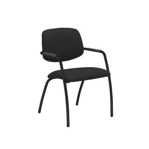 Tuba black 4 leg frame conference chair with half upholstered back - Havana Black