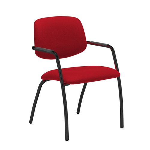 Tuba black 4 leg frame conference chair with half upholstered back - Panama Red