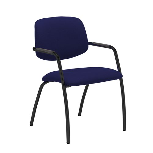 Tuba black 4 leg frame conference chair with half upholstered back - Ocean Blue