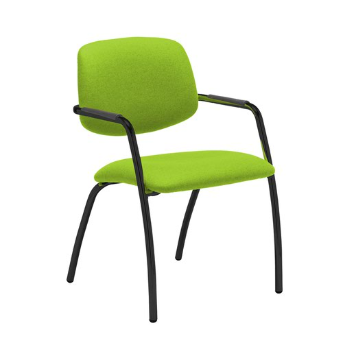 Tuba black 4 leg frame conference chair with half upholstered back - Madura Green