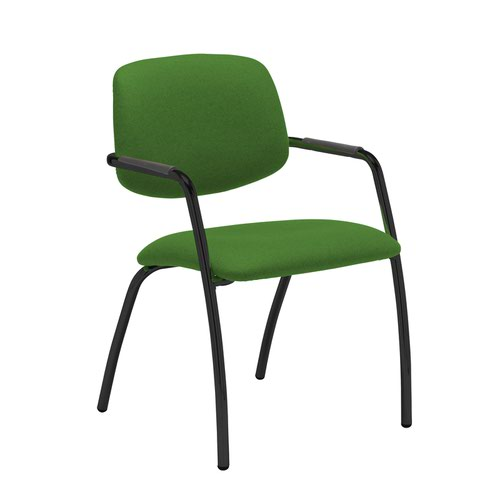 Tuba black 4 leg frame conference chair with half upholstered back - Lombok Green