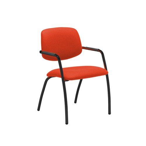 Tuba black 4 leg frame conference chair with half upholstered back - Tortuga Orange