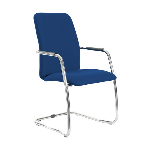 Tuba chrome cantilever frame conference chair with fully upholstered back - Curacao Blue