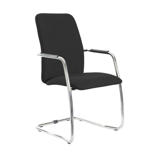 Tuba chrome cantilever frame conference chair with fully upholstered back - Havana Black