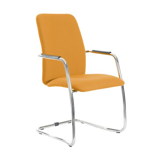 Tuba chrome cantilever frame conference chair with fully upholstered back - Solano Yellow