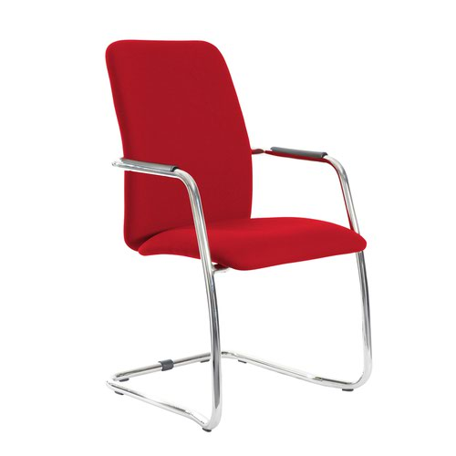Tuba chrome cantilever frame conference chair with fully upholstered back - Panama Red