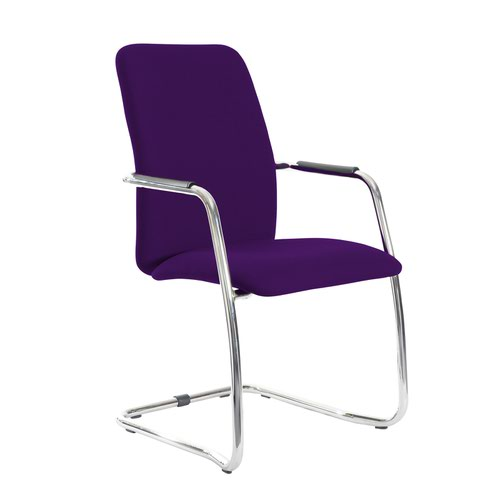 Tuba chrome cantilever frame conference chair with fully upholstered back - Tarot Purple