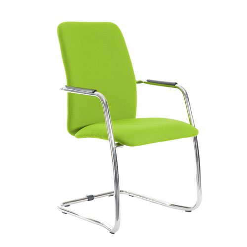 Tuba chrome cantilever frame conference chair with fully upholstered back - Madura Green
