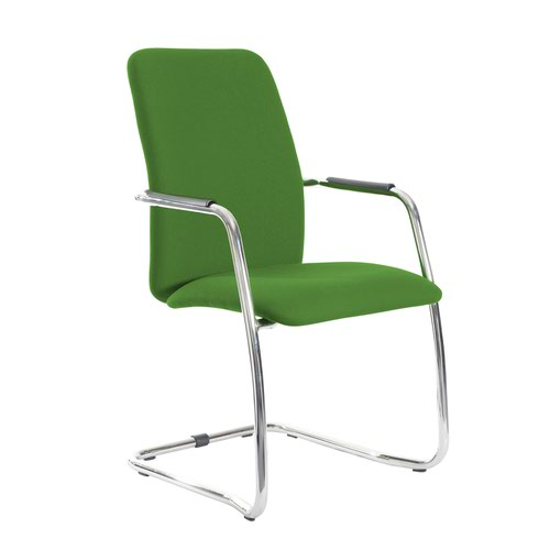 Tuba chrome cantilever frame conference chair with fully upholstered back - Lombok Green