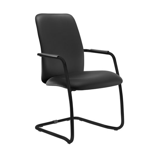 Tuba black cantilever frame conference chair with fully upholstered back - Nero Black vinyl