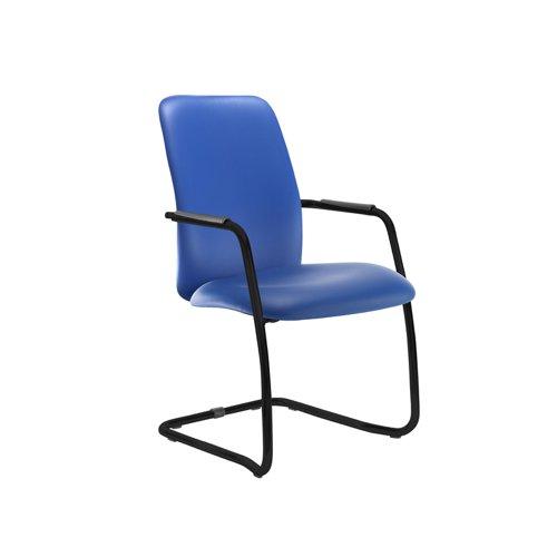 Tuba black cantilever frame conference chair with fully upholstered back - Ocean Blue vinyl