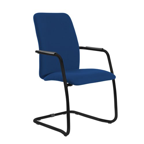 Tuba black cantilever frame conference chair with fully upholstered back - Curacao Blue