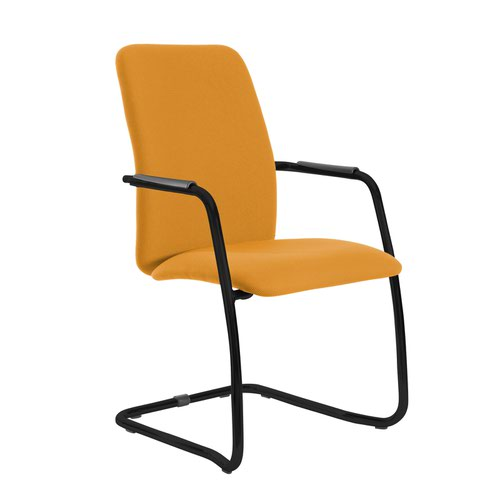 Tuba black cantilever frame conference chair with fully upholstered back - Solano Yellow