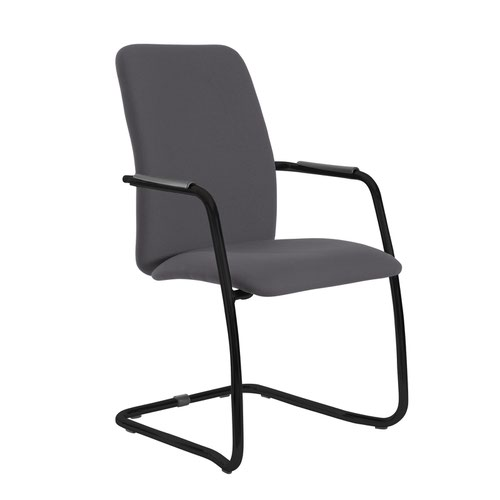 Tuba black cantilever frame conference chair with fully upholstered back - Blizzard Grey