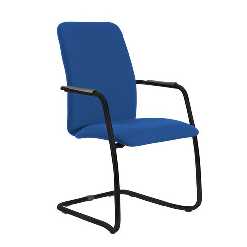 Tuba black cantilever frame conference chair with fully upholstered back - Scuba Blue